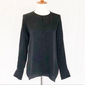 VINCE. Black Silk Long Sleeve Blouse